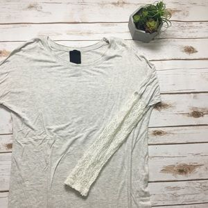 Anthropologie oatmeal long sleeve lace sleeve top